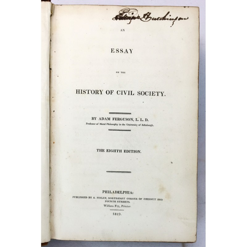 an essay on the history of civil society 1767 Get this from a library an essay on the history of civil society, 1767 [adam ferguson.