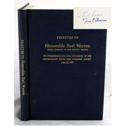 Tributes to the Honorable Earl Warren, Chief Justice of the United States to Commemorate the Occasion of His Retirement From the Supreme Court (Signed by Warren)